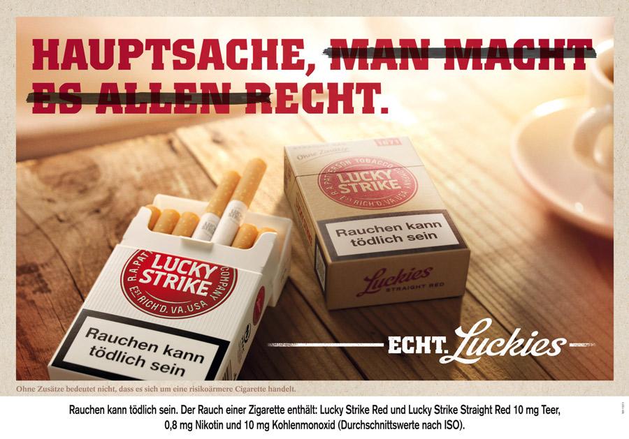 Werbung mit dem neuen Lucky Strikt-Logo