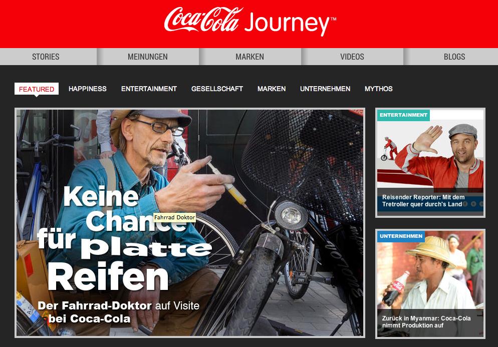 Screenshot der Website von Coca-Cola Deutschland.