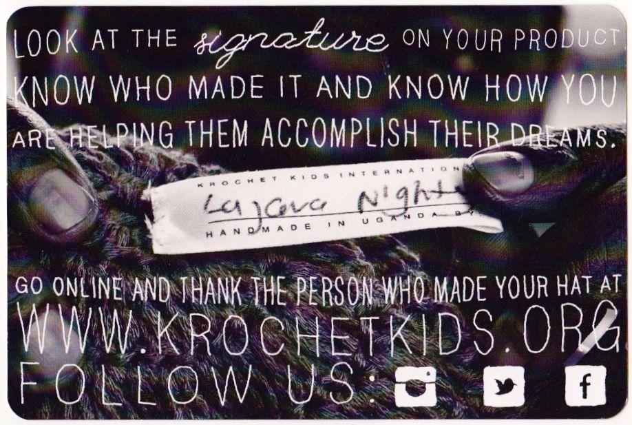 Werbung für krochetkids.org: handsignierte Häkelmode aus Entwicklungsländern.